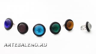 RS01-A Кольцо круглое с серебром различные цвета муранское стекло