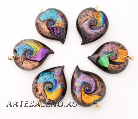 CV03 Подвеска сердце с узором дикроико и муранское стекло