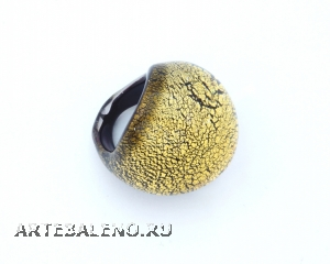 NV31o Кольцо круглое большое с золотом муранское стекло