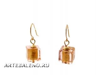 S781/maz Cерьги из бусин-кубиков (холодный и теплый тон) муранское стекло