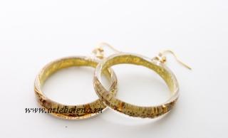 NV03 Серьги Бонди' в форме кольца диам.4 см цвет слоновая кость-золото