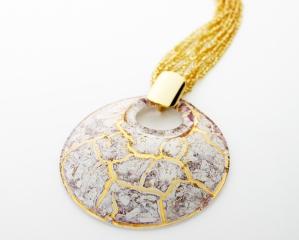 NV02 Подвеска Бонди' диаметр 8см цвет бело-золотой