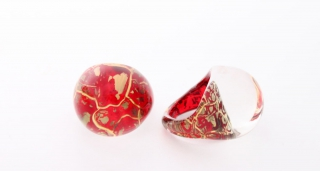NV04 Кольцо Бонди' круглое диам.2,5см цвет красно-золотой