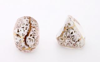 NV02 Кольцо Бонди' удлиненное Шамаре' 3,5см цвет бело-золотой