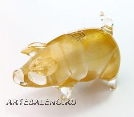 661/B Статуэтка Свинка (высота 8см, длина 12см) муранское стекло