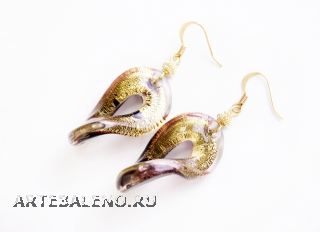 NV41 Серьги Твист цвет золото и серебро муранское стекло