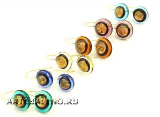 RS18-O Серьги Лагуна муранское стекло разл.цвета