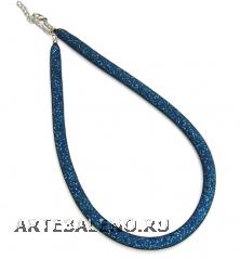 Ожерелье Венецианский бисер в сеточке холодные тона 40/45см толщина 10-12мм