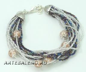 CN62/63-B Бисерный браслет для колье Мимоза и Тюльпан 16 нитей цвет слоновая кость-черно-серебристый