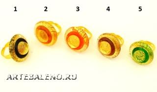 RS30-A Кольцо Double gold 5 цветов муранское стекло