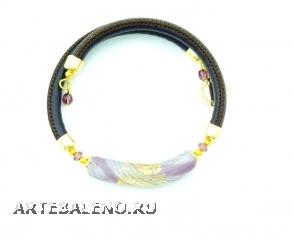 Vac/B9153 Браслет Майя 6 цветов муранское стекло и натуральная кожа
