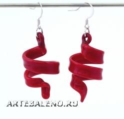 NV75 Серьги матовые Спираль цвет красный