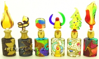 B01 (4) Флакончик Венецианский карнавал  h8-14см серия Винтаж муранское стекло
