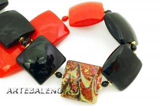Vac/С9248 Колье двухцветное Красное и черное 45+5 см муранское стекло
