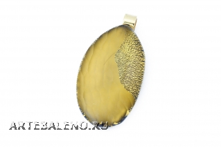 RS31 Подвеска овальная Грани цвет золото муранское стекло