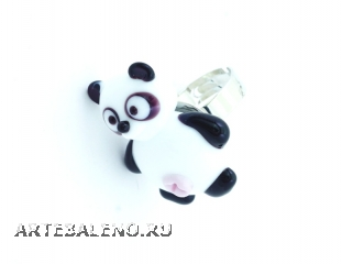 LV26 Кольцо Панда 3 см муранское стекло