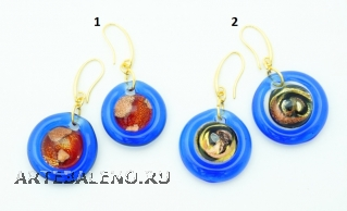 VC22 Серьги Атолл диам.2-2,2см, цвет канта синий муранское стекло