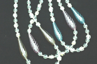 IC04 Колье Дольче Вита с 2 филигранными удлиненными бусинами 3 цвета муранское стекло
