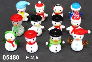 05480 Снеговики стеклянные 2,5см сет 12 шт