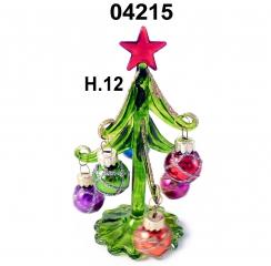 04215 Елка стеклянная с новогодними шарами 12см