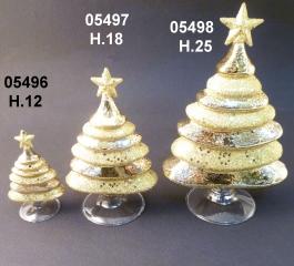 05498 Елка стеклянная цвет золотой 25 см