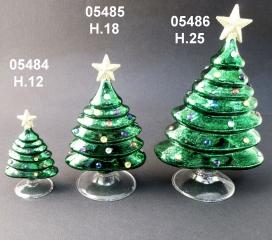05485 Елка стеклянная цвет зеленый 18 см