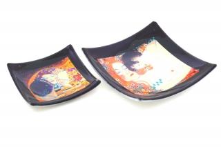 N40 Блюдце-конфетница 12х12см Климт Объятия (Материнство) муранское стекло