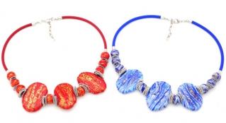 2017-58 Колье Доломиты цвет красный и синий муранское стекло