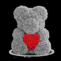 Мишка из роз 40 см серый с красным сердцем
