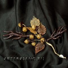 534/G Ветка с желудями (дл. 18см) муранское стекло