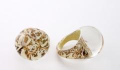 NV03 Кольцо Бонди' круглое диам.2,5см цвет золото-слоновая кость