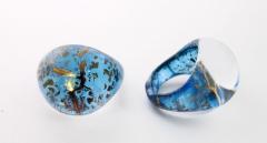 NV14 Кольцо Бонди' круглое диам.2,5см цвет сине-золотой