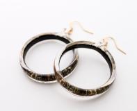 NV01 Серьги Бонди' в форме кольца диам.4 см цвет черно-золотой