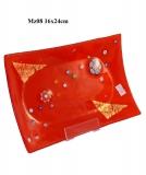 Mz08 Блюдце декорат. красное 16х24см муранское стекло