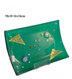 Mz10 Блюдце декорат. зеленое 16х24см муранское стекло
