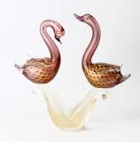 630/N Статуэтка Пара неразлучных лебедей на подставке муранское стекло