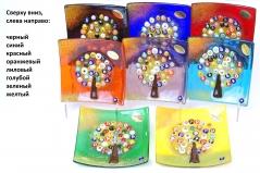 """N2 Блюдце декоративное """"Дерево"""" 12х12см 8 цветов муранское стекло"""