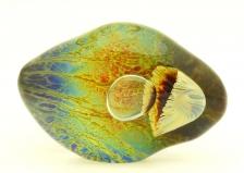TP04 Скульптура Иные моря в виде овального камня с кальцедоном 2 фото 18см муранское стекло