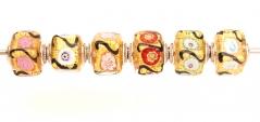 TR22 Набор из 6 бусин-кубиков Mosaico oro муранское стекло