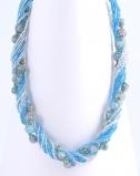 CN62 Бисерное колье Мимоза 13 нитей 45-50см цвет 4 бирюзовый с серебром
