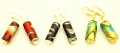 2012-67/maz(2) Серьги с бусиной-цилиндром новые 3 цвета муранское стекло