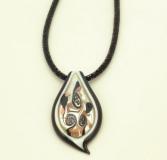 VB03 Подвеска Иней 7х3,5см на бисерном ожерелье в сеточке муранское стекло