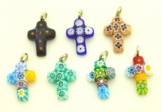 арт.TO-IV/5 Подвеска Крестик из мурринок различные цвета