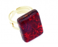 Арт.01 красный - кольцо 1,5x2 муранское стекло