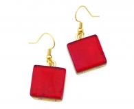 Арт.01 красный - серьги 1,5x1,5 на швензе/дужке муранское стекло