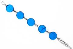 Арт. 02 бирюзовый - браслет с 5 круглыми элементами 1,8см