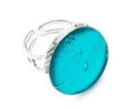 Арт. 02 морская волна - кольцо круглое диам.1,8см муранское стекло