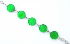 Арт.02 зеленый - браслет с 5 круглыми элементами 1,8см  муранское стекло