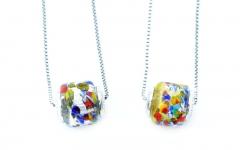 TR31/1** Кулон-бусина-цилиндр на цепочке муранское стекло