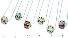 TR22/1** Кулон-бусина-кубик на цепочке муранское стекло